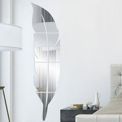 Creative DIY Feather Shape Removable Mirror Wall Sticker в магазине GearBest