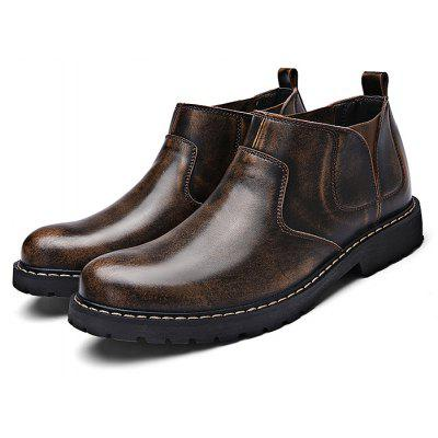 Buy Men Medium Top Leather Slip-on Ankle Boots DEEP BROWN 42 for $31.92 in GearBest store