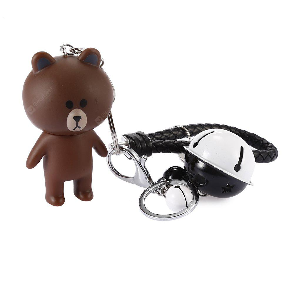 Rotatable Head Bear Key Ring