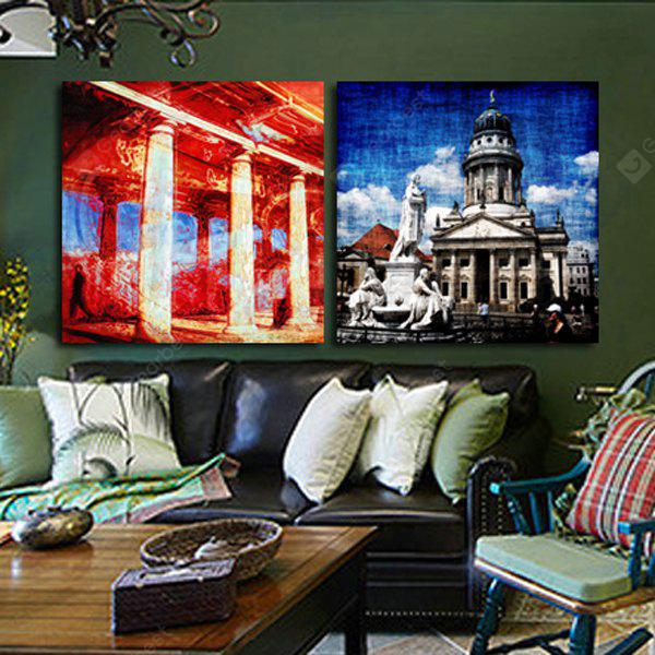 2PCS Stone Carvings and Castles Printing Canvas Wall Decoration