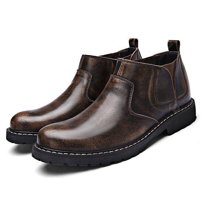 Men Medium Top Leather Slip-on Ankle Boots
