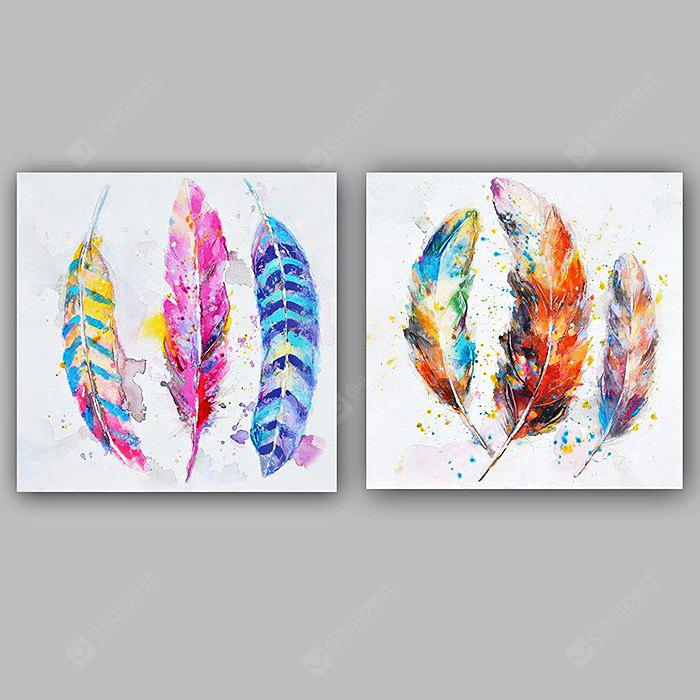 Happy Art Modern Hand Painted Canvas Feather Oil Painting