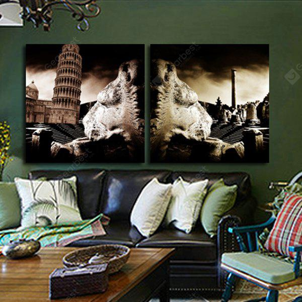 2PCS Leaning Tower Printing Canvas Wall Decoration