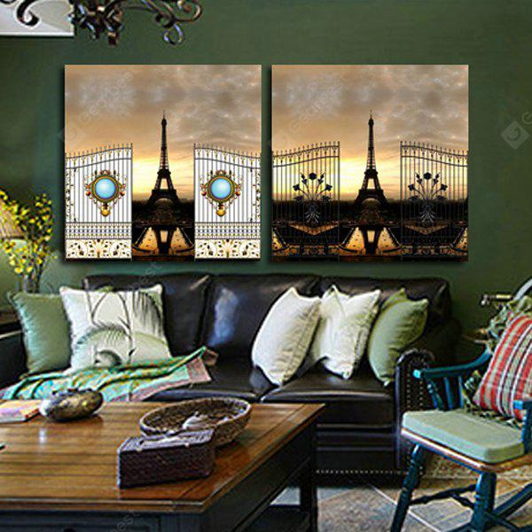 2PCS Tower Printing Canvas Wall Decoration
