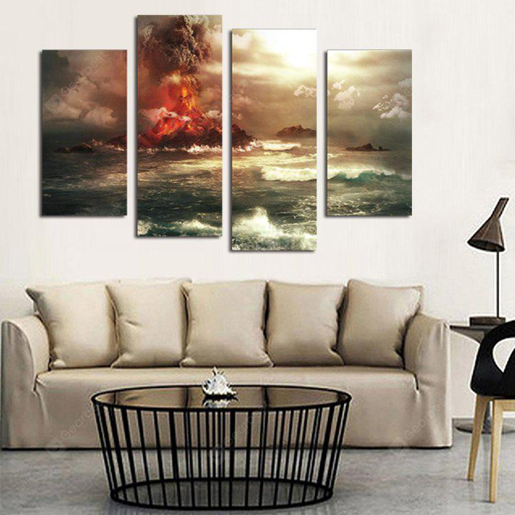 4PCS Volcanic Eruption Printing Canvas Wall Decoration