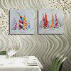 Happy Art Modern Hand Painted Canvas Sailboat Oil Painting - WHITE