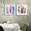 Happy Art Modern Hand Painted Canvas Feather Oil Painting - COLORFUL