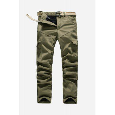Male Military Style Cotton Casual Pants with Multiple Pockets