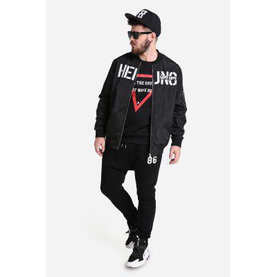 Male Fashionable Large Size Letter Printing Stand Collar Zipped Baseball Coat