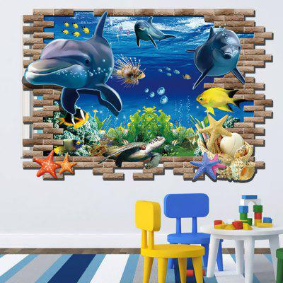Dolphin Turtles Pattern Underwater World Design Sticker