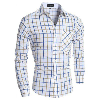 Men Casual Button Down Long Sleeve Plaid Shirt