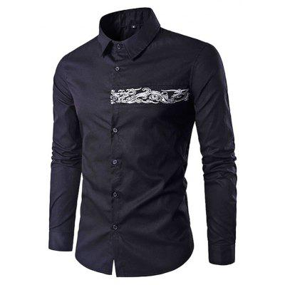 Men Button Down Long Sleeve Embroidery Shirt