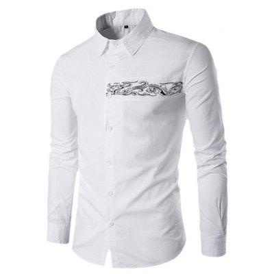 Button Down Long Sleeve Embroidery Shirt for Men