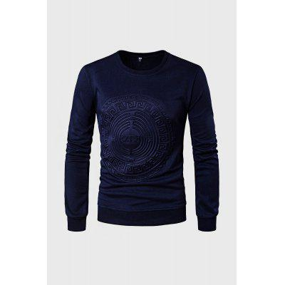 Casual Simple Embossed Print Long Sleeve Sweatshirt
