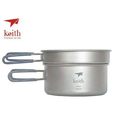 Keith Ti6016 Portable Titanium 0.6L + 0.95L Ensemble de pot de camping
