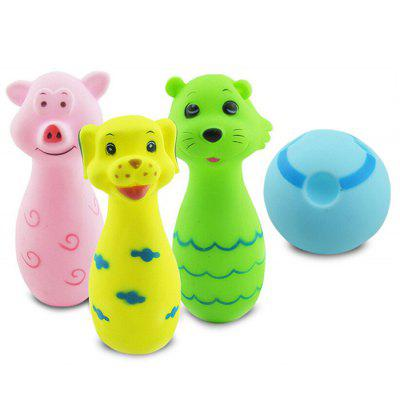 4pcs Squeeze Squeak Bath Toys of Animal and Bowling