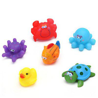 6pcs Lovely Kids Squeeze Squeak Bath Toys of Sea Animal