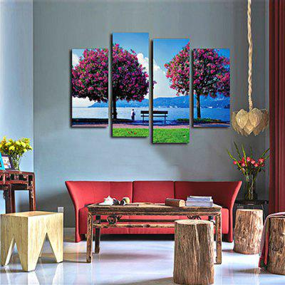 Flowers Tree Fishing Old Man Printing Canvas Wall Decoration