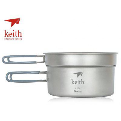 Keith Ti6017 Portable Titanium 0.8L + 1.25L Camping Pot Set