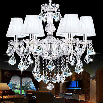 Buy WHITE European Crystal 6 Head Glass Chandelier 220V for $836.66 in GearBest store