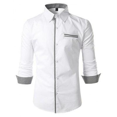 Men Fashion Button Down Long Sleeve Inner Contrast Shirt