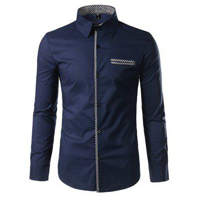 Fashion Button Down Long Sleeve Inner Contrast Shirt for Men