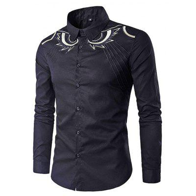 Casual Button Down Long Sleeve Embroidery Shirt for Men