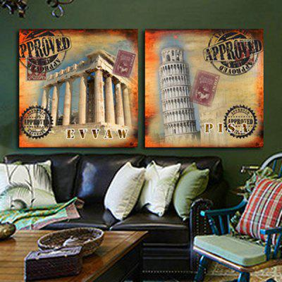 2PCS Leaning Tower Style Printing Canvas Wall Decoration