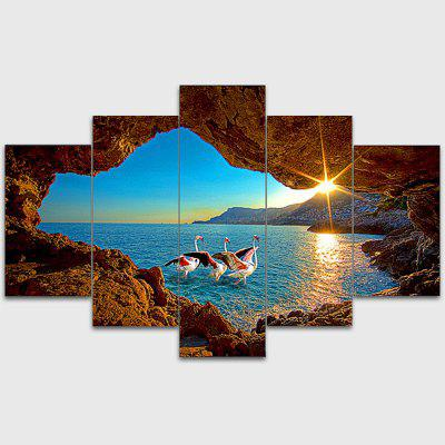 Jingsheng 5PCS Modern Print Seascape Wall Decor