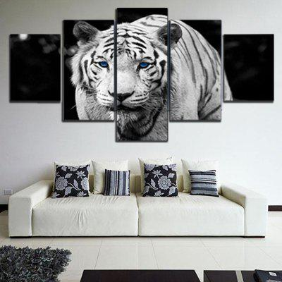 5PCS Printed Tiger Painting Canvas Print Room Decor