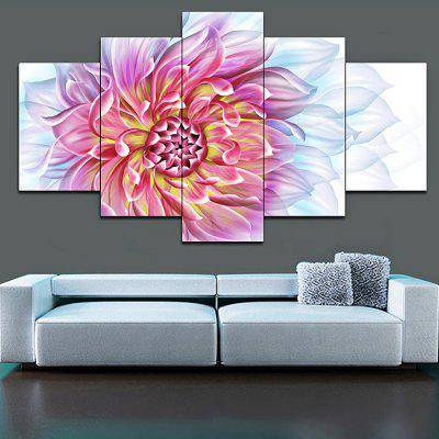 Jingsheng 5PCS Modern Print Pink Flower Wall Decor