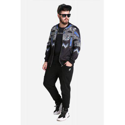 Fashionable Printed Zipped Large Size Sports Jacket
