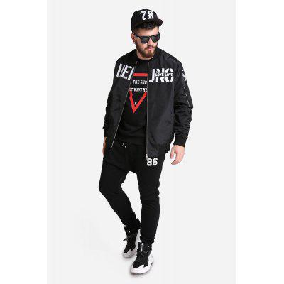 Casual Grande taille Lettre Impression Stand Collar Zipper Baseball Coat for Men