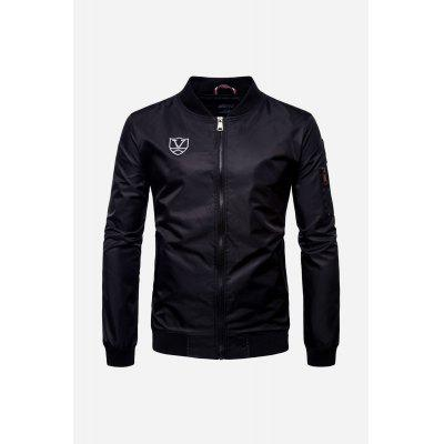 Male Fashionable Stand Collar Zipped Water Resistant Flight Outwear Jacket