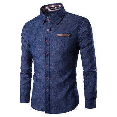 Men Fashion Button Down Long Sleeve Denim Shirt в магазине GearBest