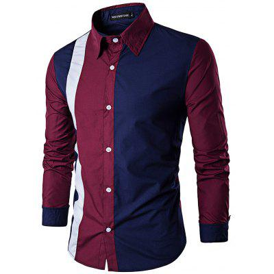 Men Casual Business Long Sleeve Stitching Shirt