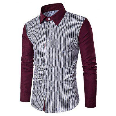 Men Casual Button Down Long Sleeve Splicing Shirt