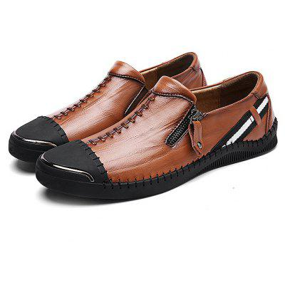 Buy Special Zipper Casual Leather Shoes for Men BROWN 43 for $28.67 in GearBest store