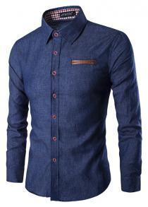 Men Fashion Button Down Long Sleeve Denim Shirt