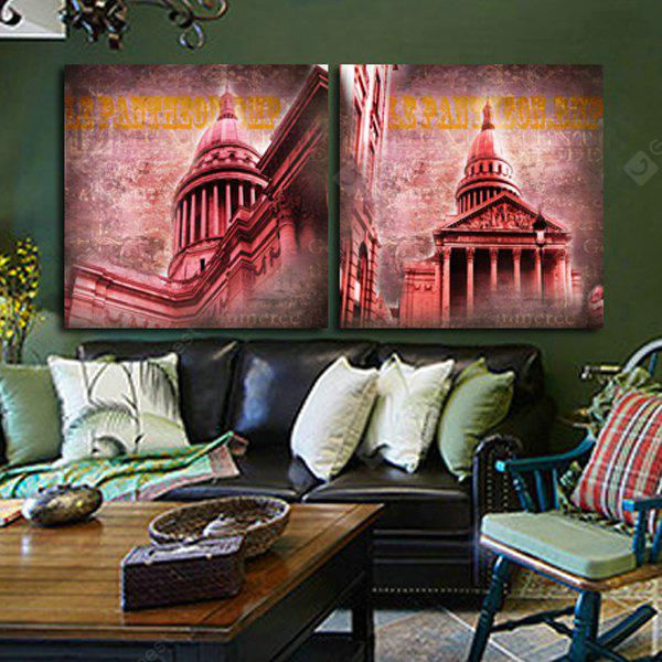 2pcs House with Minaret Printing Canvas Wall Decoration