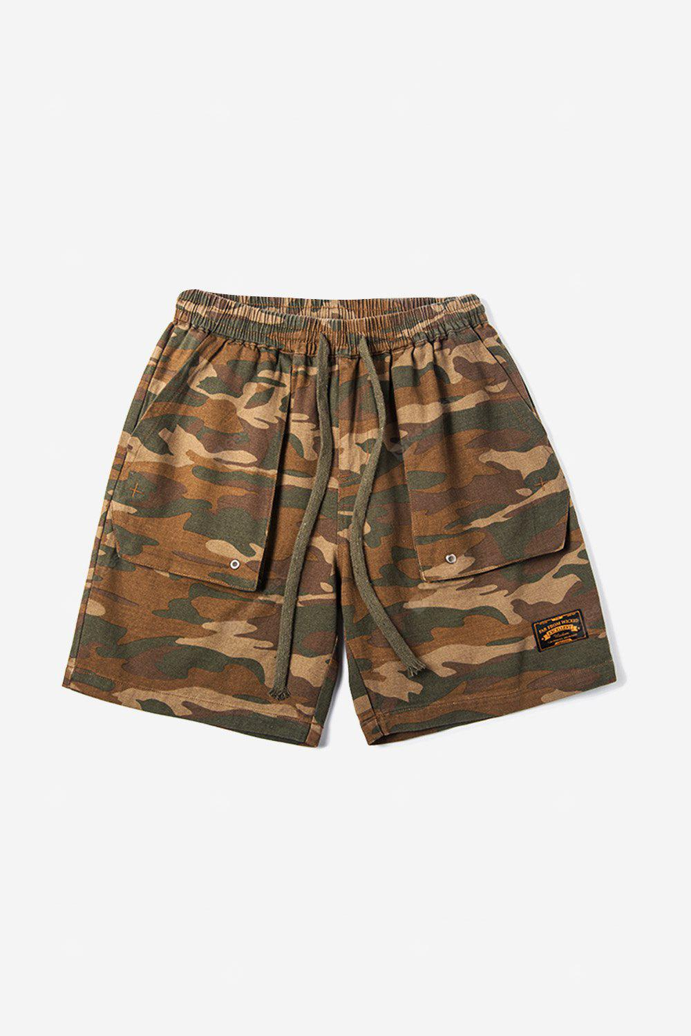 Male Fashionable Casual Twill Camouflage Embroidered Cargo Shorts