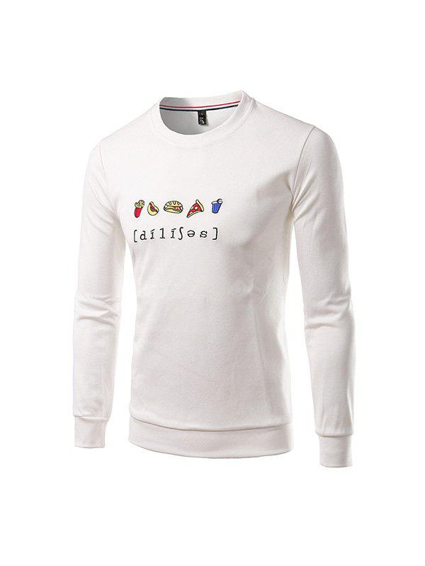 Buy Men Casual Long Sleeve Crew Neck Sports Sweatshirt 5XL WHITE