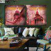2pcs House with Minaret Printing Canvas Wall Decoration - MULTI
