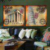 2PCS Leaning Tower Style Printing Canvas Wall Decoration - MULTICOLOR