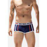 Male Comfortable Simple Breathable Sexy Striped Low Rise Boxer Brief - DEEP BLUE