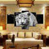 5PCS Printed Tiger Painting Canvas Print Room Decor - BLACK WHITE