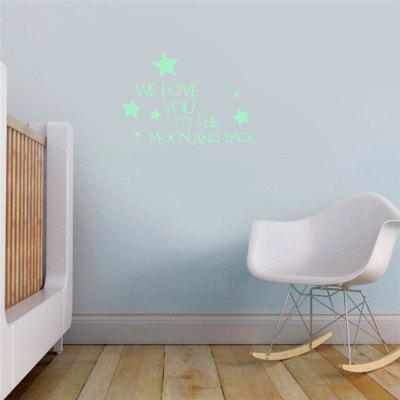 Creative Fluorescence English Letters Stars Wall Sticker