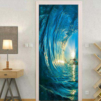 Wave Sunset Wall Art Door Sticker Wallpaper