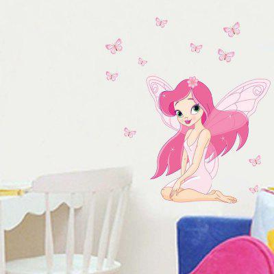 Cartoon Beautiful Girl PVC Waterproof Wall Sticker