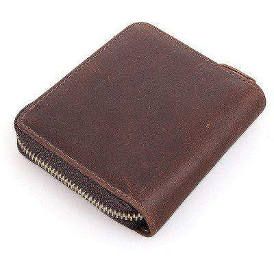 Buy DEEP BROWN Men Leisure Leather Zipper Around Wallet for $25.32 in GearBest store